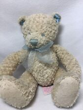 First & Main Cream Blue Softstuff  Bear Plush Soft Toy Teddy 2324 Stuffed
