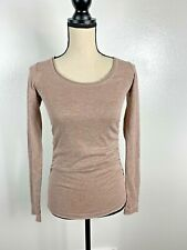 MAMA WOMEN SIZE XS BEIGE LONG SLEEVE FITTED  ROUCH PULLOVER SWEATER 10/32