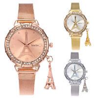 MEIBO Fashion Women Watch Eiffel Tower Stainless Steel Analog Quartz Wrist Watch