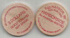 Egg Harbor, Wisconsin Harborside Bistro 3 Dollar Toward Any Drink Wooden Nickel