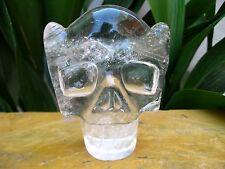 262g Carved NATURAL Clear quartz crystal Skull healing