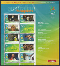 AUSTRALIA 2006 COMMONWEALTH GAMES GOLD MEDAL Souvenir Sheet No 12 MNH