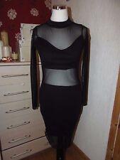 Black bodycon mesh panel dress, pencil / wiggle. Size 10 NWT