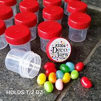 """50 Jars 1 1/4"""" Craft RED Caps Plastic 1/2 OZ Sample container  3304 DecoJars"""