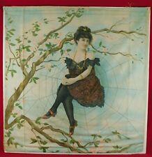 Vintage Bernhard Ulmann & Co Spider Web Edwardian Women Lithograph Linen Pillow