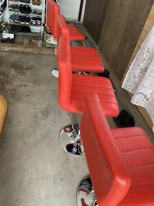 Set of 4 Bar Stools Orange PU Leather Modern Hydraulic Swivel Dinning Chair B03