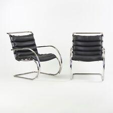 600ms Mies Van Der Rohe Knoll Mr Cuir Noir & Chrome Salon Chaises Avec Bras