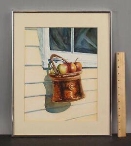 Orig ARNOLD HURLEY American Realist Watercolor Painting, Copper Bucket of Apples