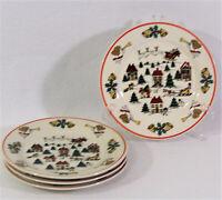 4 Jamestown China The Joy of Christmas Village Salad Dessert Plates Red Rim 1987