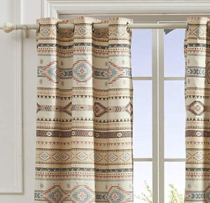 SOUTHWEST TRIBAL 84x84 WINDOW PANELS :  PHOENIX BROWN TURQUOISE CURTAIN DRAPES