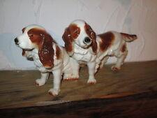 Schöne Porzellanfigur 2 Cocker Spaniel braun-weiß Hund gemarkt 29 cm
