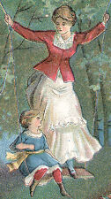 J & P COATS TRADE CARD, LADY & GIRL SWINGING ON STRONG THREAD + NEEDLE #'s  Z331