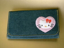 Hello Kitty Denim Portafoglio con Scomparto Carte Zip Bag Purse