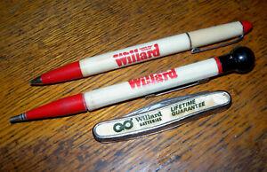 Vintage WILLARD BATTERIES Advertising Knife & Pens Lot SOUTH BEND