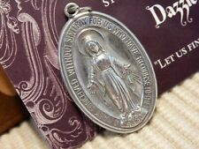 MARY MIRACULOUS  Large Oval Medal Silver Aluminum tone metal ~ Vintage Low Bid $