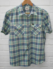 Men's LEE S/S Western Shirt Green & Blue Check 100% Cotton Pearl Size: M 38-40""