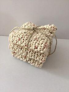 Handmade Cotton Dish Cloth, Washcloth crochet unbleached cotton flecked - 3