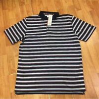 Ben Hogan NEW NWT Blue Pink White Navy Striped Polo Shirt M  New with tags. UPF