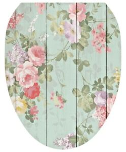 Toilet Tattoos Vinyl Lid Cover Green  Shiplap Floral Removable Ships Free