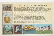 C6908 1930 Postcard Beer Donkey Cow Comic Humour Poem