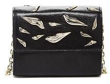 NWT Diane Von Furstenberg Lips Micro Mini Black Mixed Leather Crossbody Bag