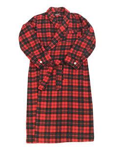 Pendleton Large 100% Virgin Wool Robe Red Black Forest Green Plaid Check EUC