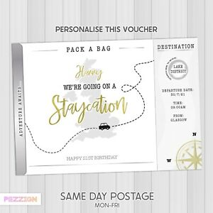 Personalised Staycation Scratch Card Ticket Voucher Surprise Gift Reveal Holiday