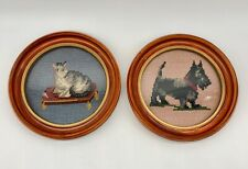 """Pair Vintage Finished Needlepoint Scottish Terrier and Cat Framed under Glass 7"""""""