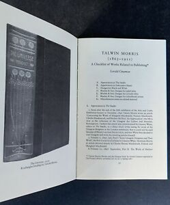 Talwin Morris Checklist THE PRIVATE LIBRARY 1990 Journal Gerald Cinamon GLASGOW