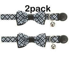 *NEW* Whisker City Plaid Bow Tie Breakaway Cat Collar 8-12 in. (Pack of 2)