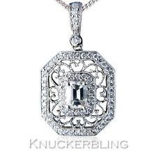Diamond Pendant 1.75ct Emerald-cut F VS Solid 18ct White Gold Filigree + Chain
