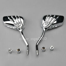 Motorcycle Skeleton Skull Hand Claw Shadow Rearview Side Mirror 8mm 10mm Chrome