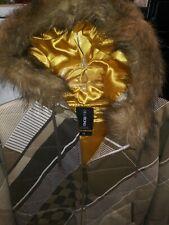 BILLABONG Coat Jacket Fur Hood Fully Lined Brown Tan Gold Vintage 2005 Mens Med