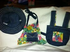 Build a Bear Jean Apron, Tote, Hat with Flower Print