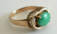 Beautiful Green Vintage 14K Yellow Gold Natural Jade Ring A Grade Antique Estate
