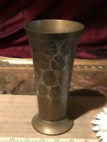 "Solid Brass Decorative Etched Design Vase / Tumbler 6 3/4""x3 1/2"""