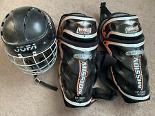 Yourh Jofa Hockey Helmet 6 1/2-7 1/4 & Mission Warp Zero Shin Guard Pads 13�