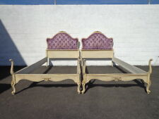 2 French Provincial Tufted Twin Beds Shabby Chic Bedroom Single Headboard Single