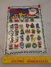 1980s 24 Christmas Vinyl Stick On Stickers VTG Santa Claus Frosty Snowman Tree