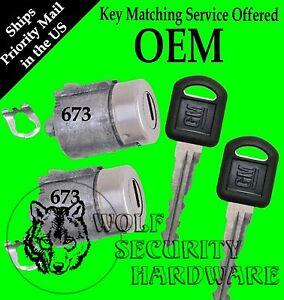GM Chevy GMC Olds Isuzu OEM Door Key Lock Cylinder Pair W/ 2 GM Keys 702673