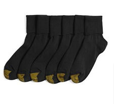 Gold Toe Womens 6 Pack Cotton Blend Turn Cuff Socks, Black, Fits Shoe 5-9