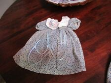 VINTAGE DOLL  DRESS blue white tiny flowers smocking  fits BABY HILDA -TODDLERS