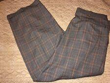Smokey Joe's Black/White/Orange Herringbone Pleated/Cuffs Trousers 40X29 USA