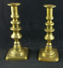 "Pair of Victorian 8"" Tall Brass Candlesticks with Hollow Shafts and Pushers"