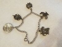 ESTATE VINTAGE BRACELET WITH 5 STERLING SILVER CHARMS 1960s  ABWA CHARM