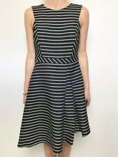 MARCS black white stripe dress sleeveless fitted sz 10 fitted waist asymetric hm
