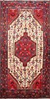 Vintage Ivory Tribal Geometric Hamedan Area Rug Hand-knotted Wool Carpet 4x7 ft