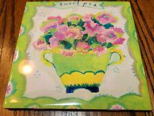 """Vintage """"Sweet Pea"""" Floral Ceramic Tile Trivet pinks and green"""