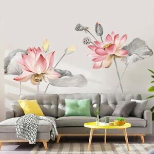 Lotus Flower Chinese Calligraphy Wall Sticker  Vinyl Decal Home Decor Art Mural