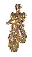 """Pin Brooch vintage Gold-tone Woman Bicyclist 2-1/8"""""""